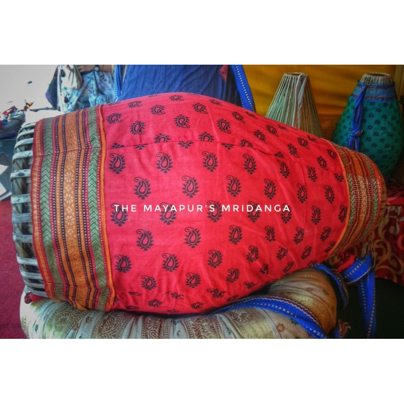 Red Patterned Mridanga Cover