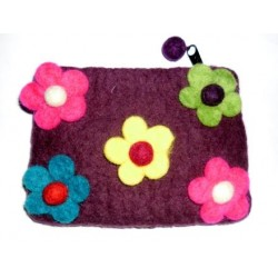 Brown Flowery Purse