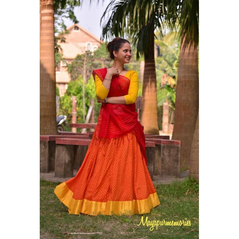 Patterned Orange Skirt